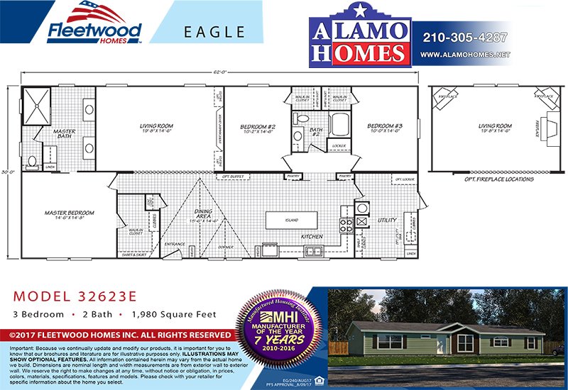 Fleetwood Eagle 32623E Mobile Home Branded Floor Plan